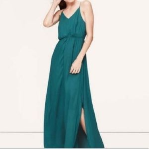 Ann Taylor LOFT teal green strappy maxi dress xs